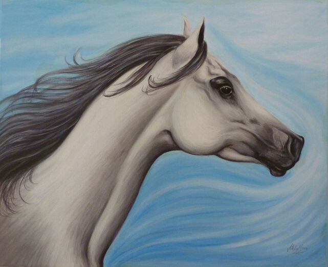 Oil painting by Jane Indigo of Arabian horse