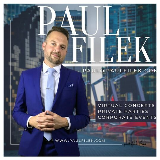 """Promotional Photo of Paul Filek standing in Jack Poole Plaza in front of the Pixelated Orca Whale Statue. The poster reads """"Virtual Concerts, Private Parties, Corporate Events"""""""