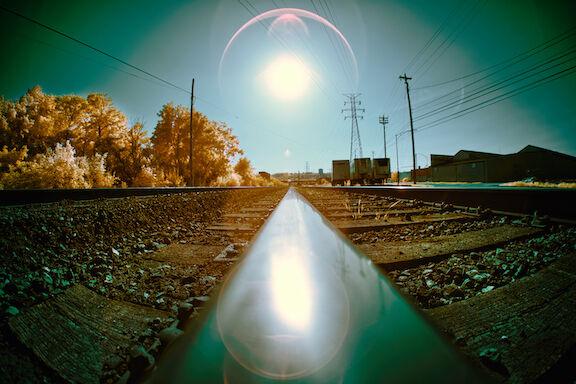 Rail track in summer