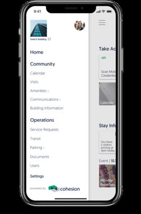 cohesion intelligent building platform mobile side menu