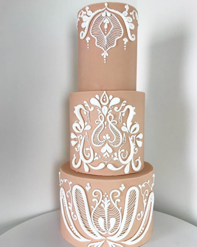 Simple and elegant wedding cake designed by Sweet B's custom cake studio