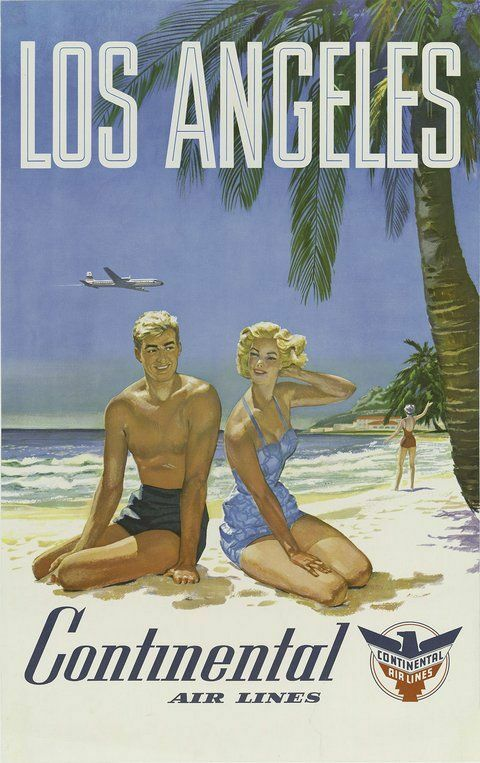 This is a fifties midcentury style vintage travel poster featuring a couple on a beach under a palm tree