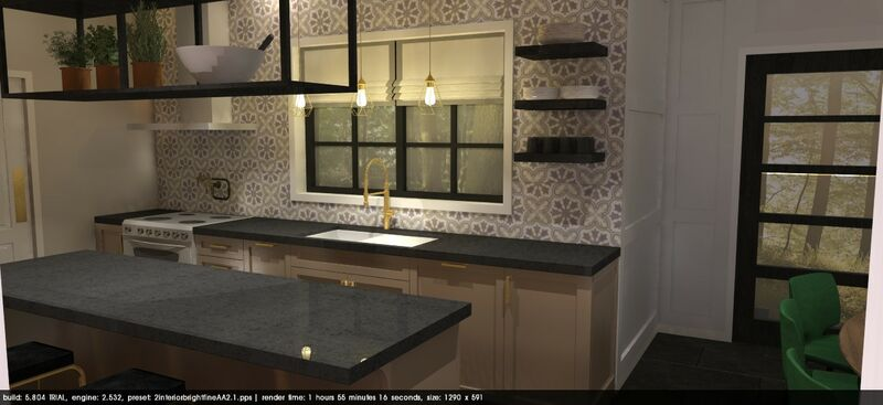 kitchen design with patterned tiles and shaker style taupe cabinetry, black quartz counter top and open shelving