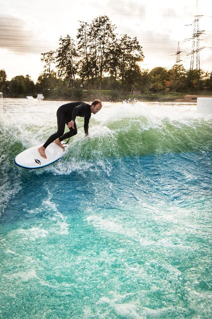The UNIT Surf Pool is the world's first floating surf pool and has the potential to turn every standing water body into a hot spot for stationary wave surfing.
