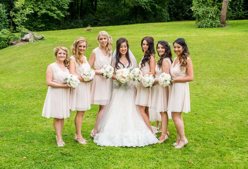 bridesmaids in Coed y  Mwstwr Bridgend