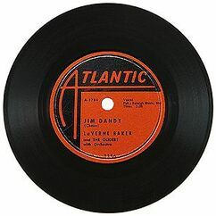 This is a foto of a vintage 45 rpm vinyl single with the classic Atlantic Records black and red logo. The single id Jim Dandy by the great black singer Lavern Baker in her crossover style between R'N'B and R'N'R ...