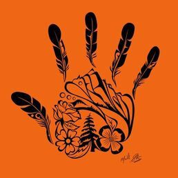 Every Child Matters image created by Michelle Stoney, Gitxsan artist. Mountains and trees represent the Gitxsan Nation, the flowers represent children, and the feathers represent children who were lost in the Kamloops residential school
