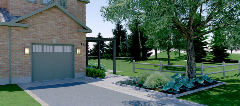 front yard design with custom pergola over an interlock pathway leading to side front entrance to small corner townhouse