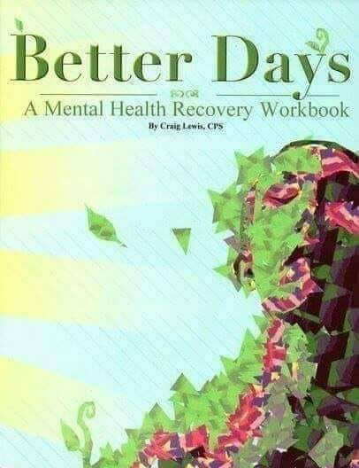 A mental health recovery workbook. Cover image an abstract of a person--top half of the body--composed of green, brown, black, and orange colored shapes-triangles, parallelograms, etc.