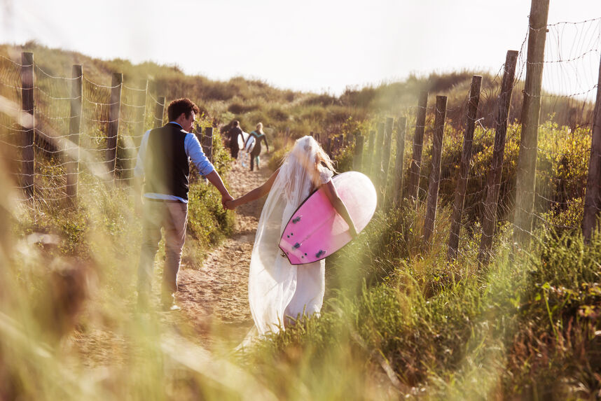 surf themed wedding with JP Surfboards