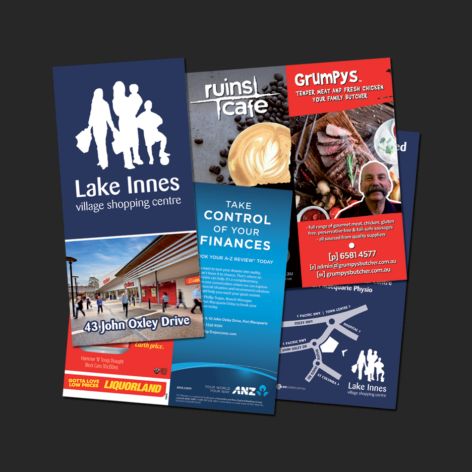 Promotional Brochure Design and print  for Lake Innes Village Shopping Centre in Port Macquarie.