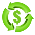 Green recycle arrows Dollar Sign