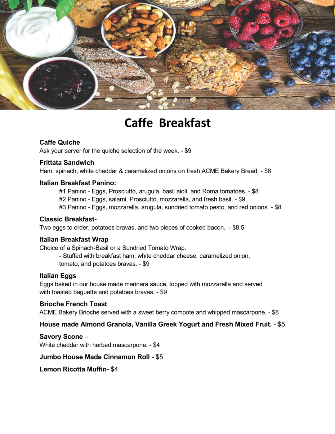 breakfast menu with header