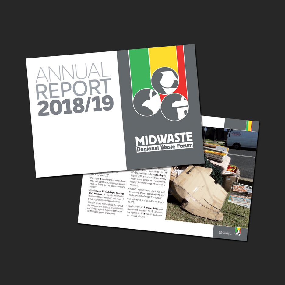 Annual Report Design for MidWaste Regional Waste Forum in Port Macquarie.