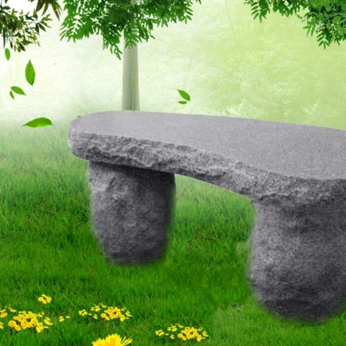 Rock bench, curved seat bench available at Creative Monument