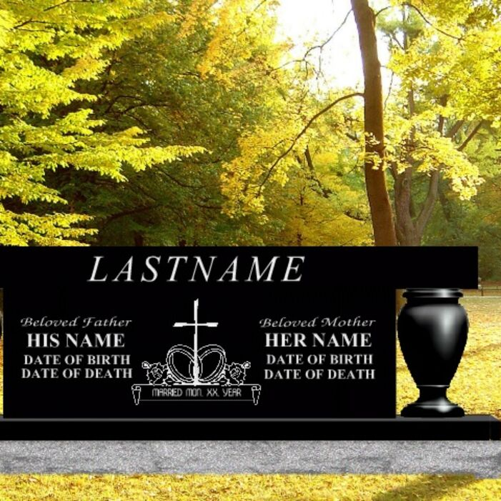 Granite Cremation Estate Bench available in many colors at Creative Monument