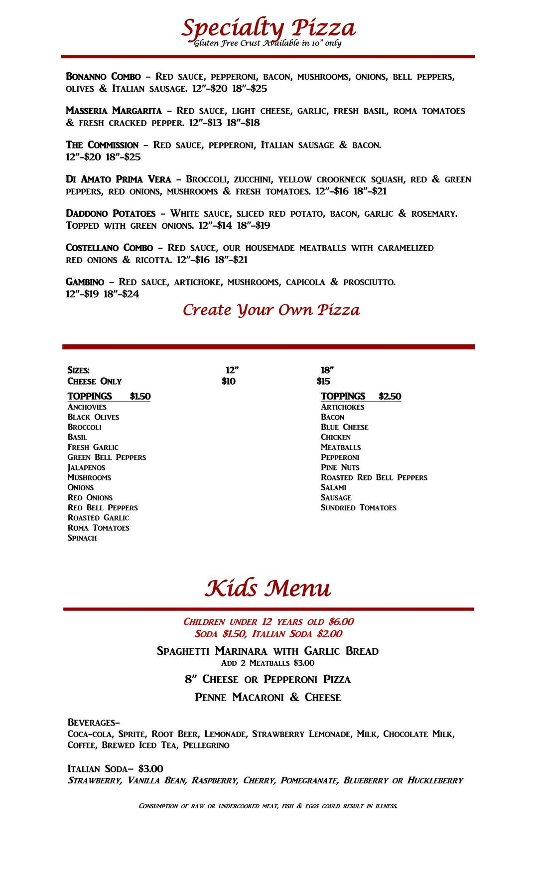 specialty pizzas and kids menu