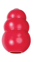 Red 3 section dog toy.