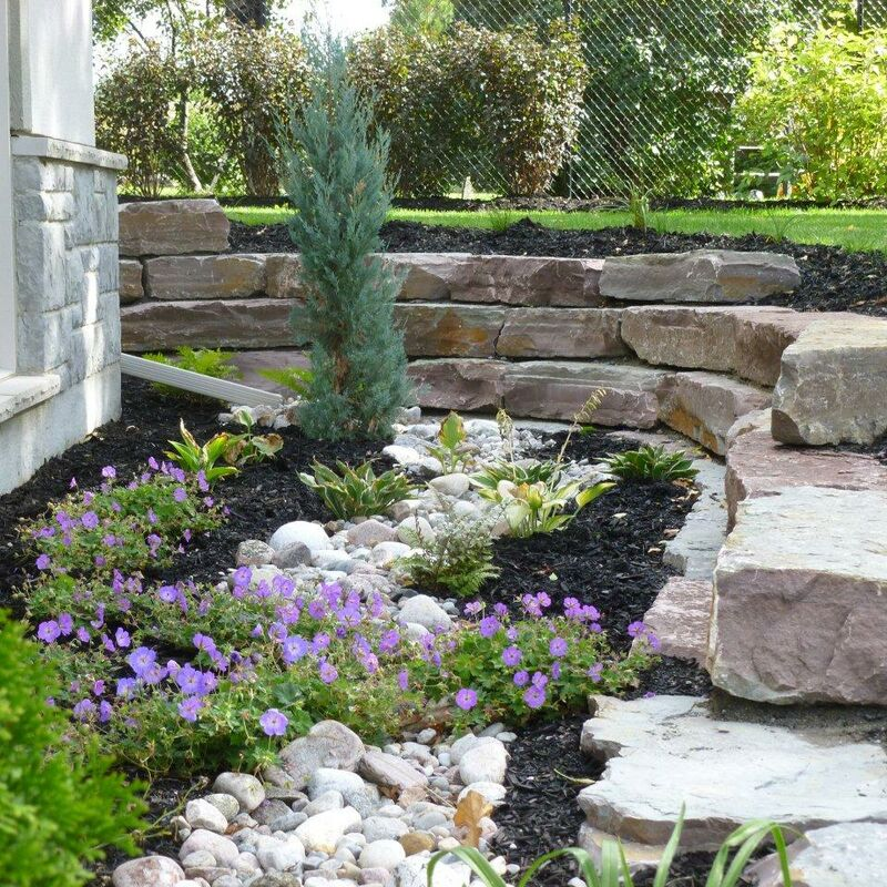 Beautifully landscaped garden surrounded by a retaining wall