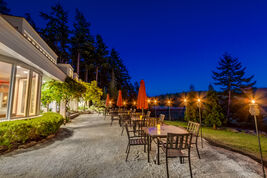The outdoor patio can seat 97 people at the Woodstone Manor.