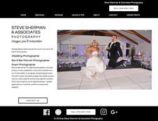 Screen shot of the home page of the Steve Sherman Photography website.