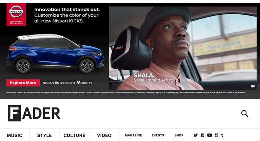 Nissan Fader banner for Artist Shala