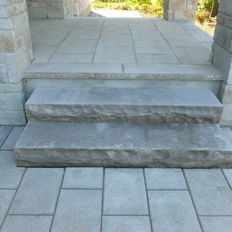 Custom built landing and stone steps