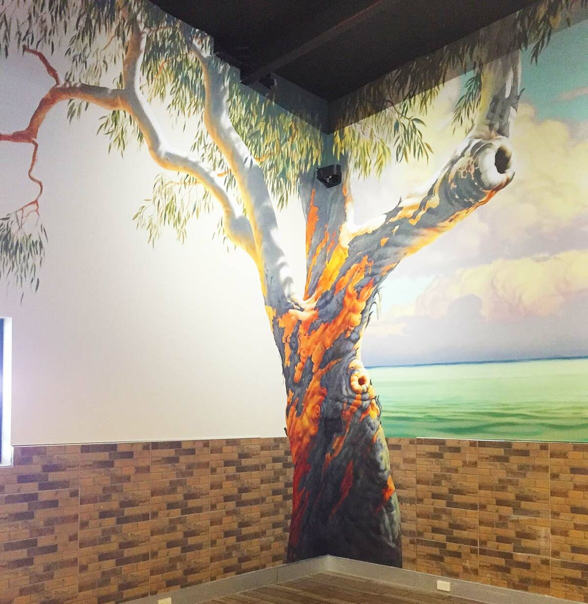 Gum tree in Kippa-Ring mural at Ariala Restuarant, painted by Tom Cosic Art