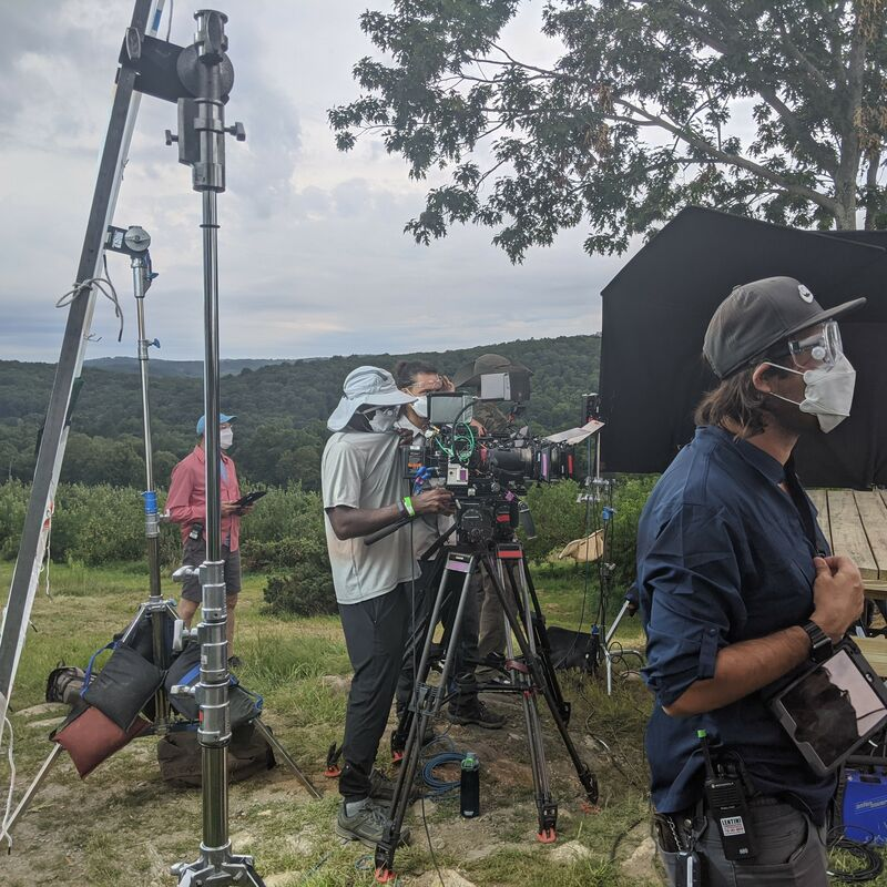 Film crew working on an upstate farm location for major TV production.