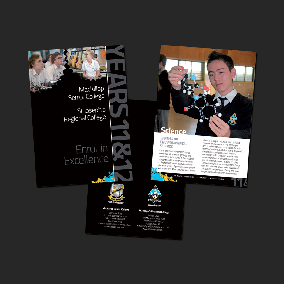 Information Booklet Graphic Design for MacKillop Senior College Port Macquarie & St Joseph's Regional College Port Macquarie Enrollment Program.