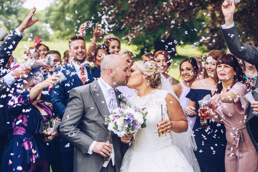 Confetti wedding photograph at Fairyhill, Gower wedding venue