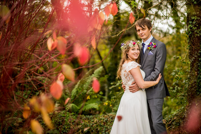 Gelli Fawr wedding venue bride and groom Pembrokshire