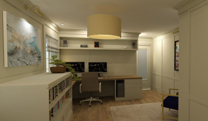 Home office design with custom paneling, custom built-ins, book cases and natural walnut desk tops