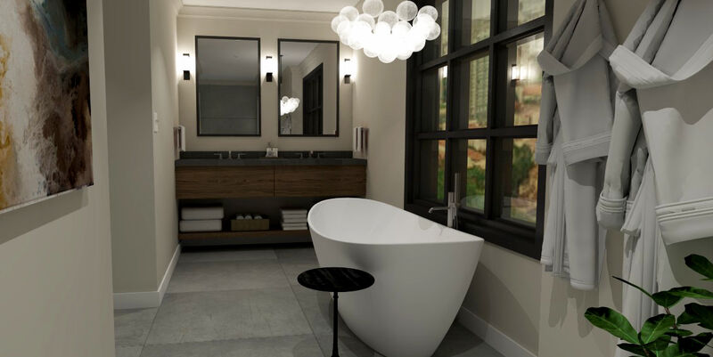 modern bathroom design with stand along soaker tub and modern walnut floating vanity with towel shelf