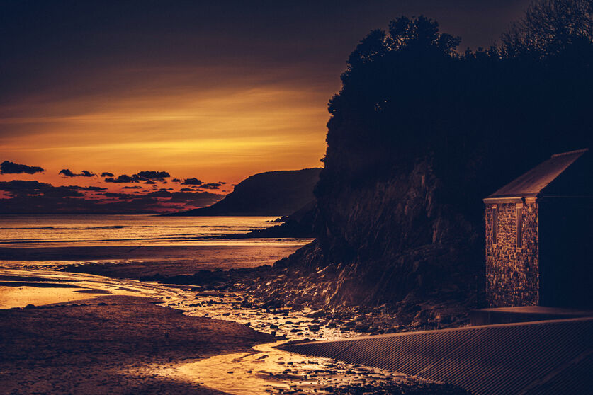 Sunset at Caswell Bay, Gower, Wales