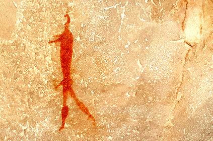 hook-head male figure cave painting in the Cederberg