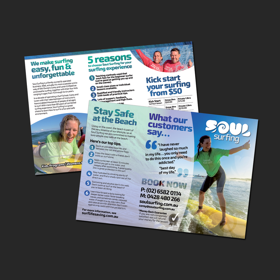 Graphic Design for a promotional brochure for Soul Surfing in Port Macquarie.
