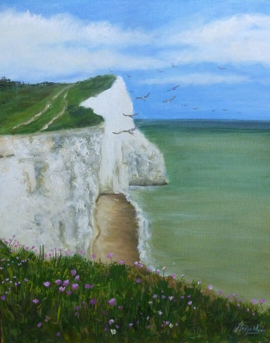 Oil painting of seagulls circling white cliffs with sea and wildflowers