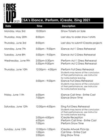 iShow Full Week Schedule