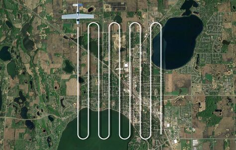 Example of a grid flight pattern of an aerial mapping flight mission