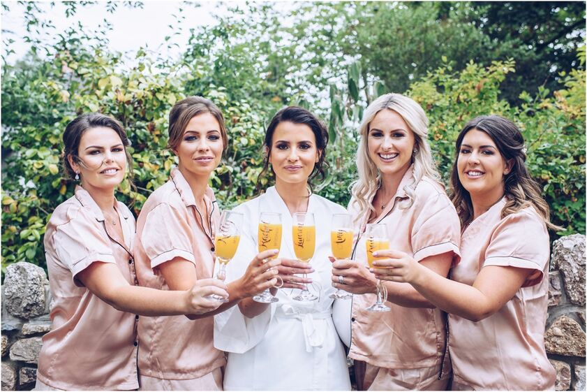 Bridesmaids during bridal prep  at the King Arthur hotel, Gower. Image by Karl Baker photography