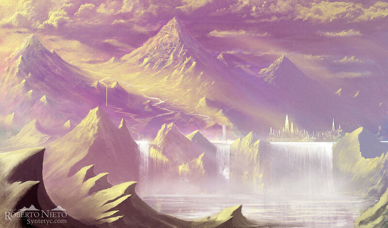 Fantasy illustration about a kingdom over a waterfall. By Roberto Nieto - Syntetyc.com