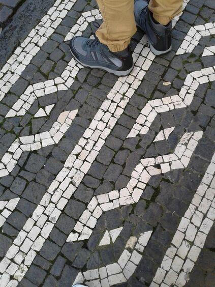 cobbled street feet