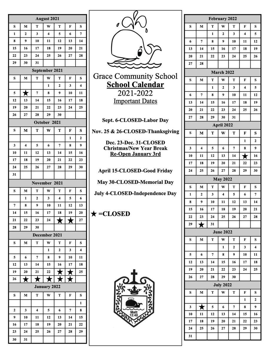 School Calendar 2021 22 all schools