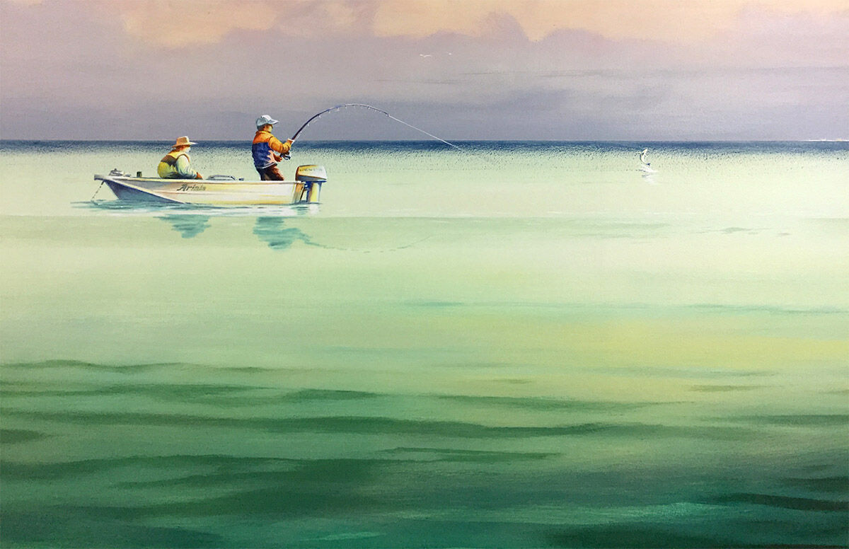 Two people fishing in Morton in Kippa-Ring mural at Ariala Restuarant, painted by Tom Cosic Art