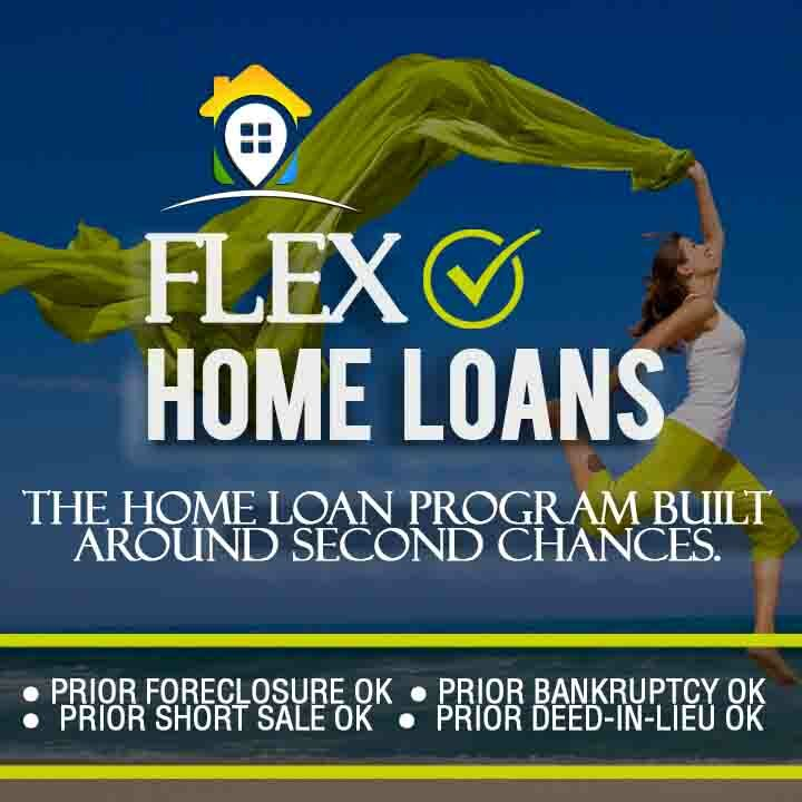 Flex Home Loans text with additional text stating prior forclosure OK Prior Bankruptcy OK Prior Short Sale OK Prior Deed-in-Lieu OK over a background image of a woman in lime green pants running carefree along a beach holding a long flowing sheet of cloth blowing in the wind behind her