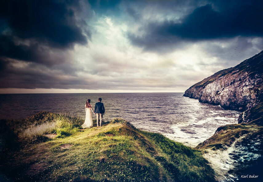 wedding photography with charlotte & Rich on the cliffs of Pendine, West Wales