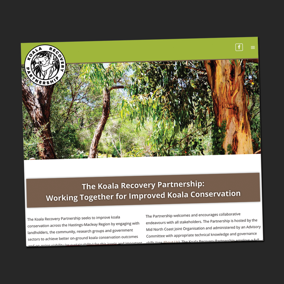 UI and UX design for the Koala Recovery Partnership website, another team effort by AreCreative, Web Studio and the KRP team.