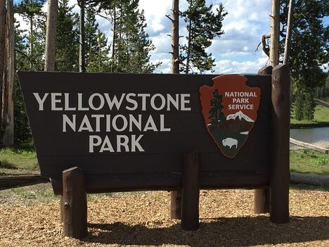 Yellowstone National Park sign on your way into the park