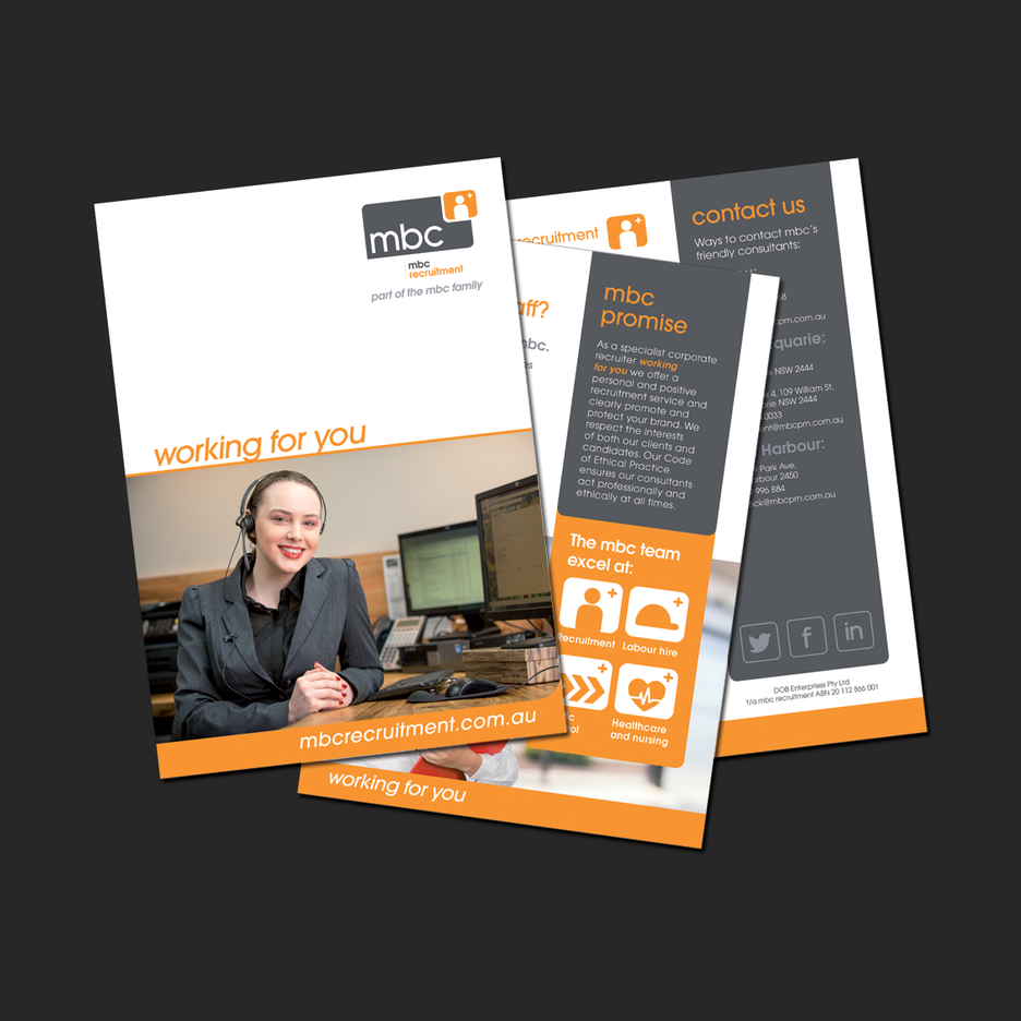 Media Kit design for MBC Recruitment in Port Macquarie.